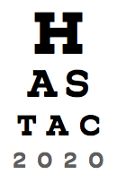 Conference logo, mimicking an eye chart that spells out HASTAC 2020